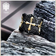 Gold Cross Warrior Ring. Sterling Silver925 Black Spinel Black Rhodium.www.PAKINsince2012.com