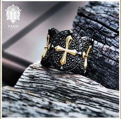Gold Cross Warrior Ring. Sterling Silver925 Black Spinel Black Rhodium.www.PAKINsince2012.com