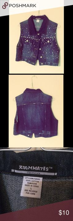 Rhinestone denim vest This vest has sparkly rhinestones all over it so you can truly shine. It is new without tags so it has never been worn before and has no stains or rips that aren't supposed to be there. Jackets & Coats Vests