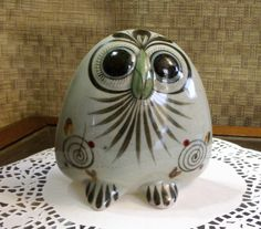 Ken Edwards OWL Mexican Pottery Bird Stoneware ~ Tonala Mexico Folk Art Signed Owl Figurine ~ Traditional Green Bird Butterfly Flower Design by EclecticJewells on Etsy