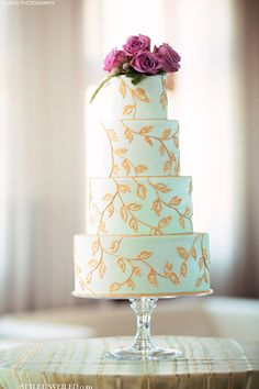 Mint Green Wedding Cake with Hand Painted Gold Leaf Accents [Honey Crumb Cake Studio via Style Unveiled]
