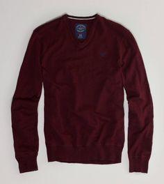 AE V-Neck Sweater - XS, Red Velvet