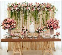 Bridal Shower Table Set Up Backdrops 45 Best Ideas Wedding Cake Table Decorations, Wedding Table, Rustic Wedding, Wedding Cakes, Dessert Table Backdrop, Pallet Wedding, Dessert Wedding, Trendy Wedding, Our Wedding