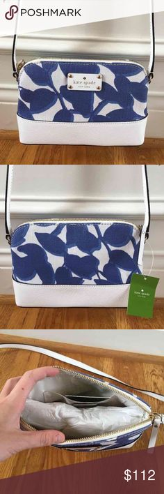 ❗️SALE❗️$179 Kate Spade Crossbody New with tags $179 Kate Spade Hanna Crossbody Wellesley leaves fabric in hycnleaves// brand new, perfect condition, never worn before kate spade Bags Crossbody Bags