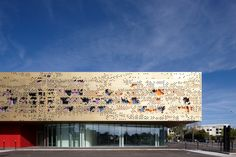 Laser Cut Steel Facade - Gold - Pixelated