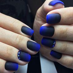 Blue new years nails, Dark blue nails, Dark short nails, Festive nails, Luxurious nails, Nails with rhinestones, New Year nails 2018, New years nails
