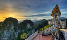"""Tiger Cave Temple by Alexander Riek - """"This is a shot from a recent trip to Tiger Cave Temple in the South of Thailand. To reach this temple you have to climb 1237 steep steps. You definitely know afterwards what you have done :) but it is worth it."""""""