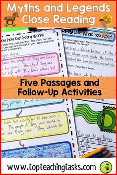 Myths and Legends Reading Comprehension Passages and Questions. Your upper elementary students will love these engaging passages about the Trojan Horse, Maui and the Sun, the Lochness Monster and more! This differentiated reading comprehension resource includes traditional literature passages with engaging higher order thinking tasks - perfect for your 3rd, 4th, 5th, and 6th grade class! Great for close reading, test prep, guided reading activities for kids. {Grade 3, 4, 5, ELA, Language…