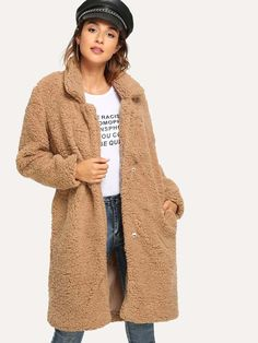 SheIn offers Shawl Collar Solid Teddy Outerwear & more to fit your fashionable needs. Georgia, Teddy Coat, Collar Styles, Tattoo Girls, Makeup Products, Outerwear Jackets, Denim Jackets, Fashion News, Coats