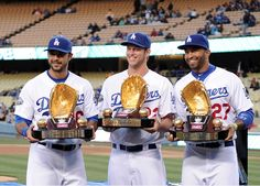 My favorite Dodgers <3 (from L to R) Andre Ethier, Clayton Kershaw and Matt Kemp with their Golden Gloves. I <3 LA