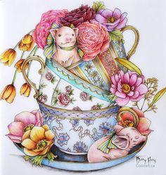 Little piggies from Menuet de Bonheur by Kanoko Egusa. ___________ #menuetdebonheur #kanokoegusa #menuetdebonheurcoloringbook #coloringwithpencils #coloringforadult #adultcoloring #colorartbybettyhung #creativecoloring #csmscrapbooker #coloringmasterpiece #bayan_boyan #artecomoterapia