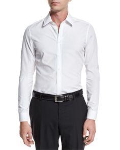"Basic Slim-Fit Woven Dress Shirt, White, Size: 17"" - Gucci"