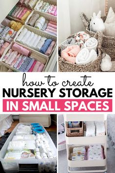 Finding nursery storage in a small space can be challenging. These nursery storage tips for small spaces will help you find room for all of baby's items! Baby Closet Storage, Baby Closet Organization, Organization Ideas, Storage For Baby Clothes, Organize Baby Clothes, Clothes Storage Ideas For Small Spaces, Book Storage Small Space, Changing Table Organization, Nursery Storage Baskets