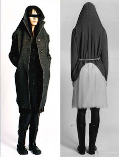 Cardigan and Coat with Stretched Collar as Hood, Martin Margiela, Winter 2005