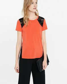 Lace Inset Tee | Express