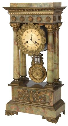 """gilt metal dial with damascened centre and black painted Roman hour numerals, open moon hands with bronze rose and filigree relief decorated bezel; round French brass spring driven movement signed """"L'Marti Cie"""". French Clock, Classic Clocks, Retro Clock, Timer Clock, Mantel Clocks, Cool Clocks, Modern Clock, Clock Art, Antique Clocks"""