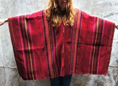 Vintage Red Stripe Poncho