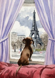 DACHSHUND IN PARIS Dog Signed Art Print by Artist by k9artgallery, ♥♥♥ dauchshund dauchshunds weenier weeniers weenie weenies hot dog hotdogs doxie doxies ♥♥♥