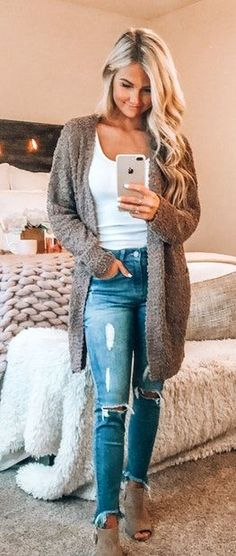 Fall Cardigans - Outfits for Work Cute Fall Outfits, Fall Fashion Outfits, Fall Winter Outfits, Look Fashion, Winter Fashion, Summer Outfits, Casual Outfits, Casual Winter, Fall Fashion 2018