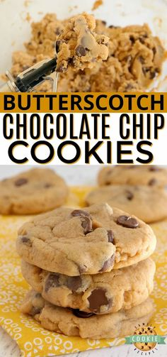Butterscotch Chocolate Chip Cookies made with butterscotch pudding mix and milk chocolate chips. Amazingly soft and chewy cookies bursting with butterscotch flavor.