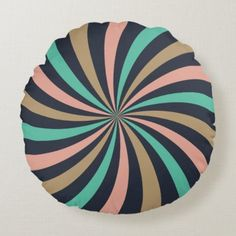 Warm and Earthy Pink Aqua Brown Lollipop Swirl Round Pillow
