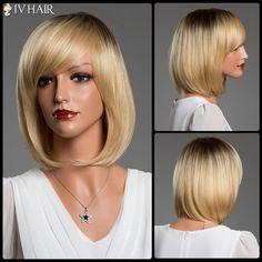 Short Bob Straight Side Bang Siv Real Natural Hair Wig