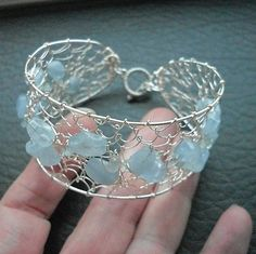 Woven Wire Cuff Bangle Bracelet with Natural Aquamarine Nuggets & Tumbled Chip Beads by GlitzyGecko