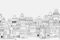 In North West London, you'll find Notting Hill with its adorable town houses. Here you see our take on their timeless architecture – created with 2D drawings, arranged and photographed in 3D.