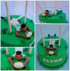 Presenting....Our very first Sports Celebrity Cake. Lions (Super rugby franchise) & Springboks player Elton Jantjies. It was really tough sculpting the figurine. But in the end, I think the likeness is uncanny. And As usual everything is edible and delicious. Unfortunately Elton had to leave for New Zealand on his birthday, but we hope the family enjoyed it. #rugby #Cake #celebritycake #rugbycake #EltonJantjies #rugbycake