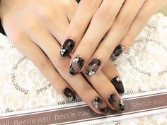 Nail Art - Beetle Nail シアーブラック♡   #arteBeetlenail #Beetlenail #ビートルネイル #アルテビートルネイル