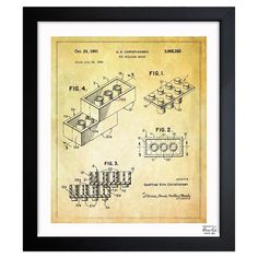 A nostalgic touch for your living room or den, this handsome print showcases a Lego-inspired patent drawing reproduction and sleek black frame. Made in the U...