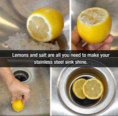 Use Lemons And Salt To Clean Stainless Steal diy diy ideas easy diy lemons cleaning tips life hacks life hack cleaning hacks cleaner