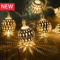 Moroccan 20 LED Light Strings Battery Hollow Metal Ball Lamp Beads Christmas Halloween New Year Party Decor Holiday Lighting #Affiliate