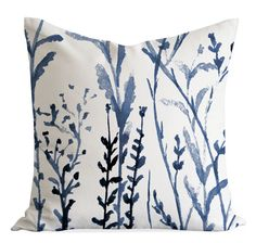 Indigo Meadow Watercolor Throw Pillow Cover, Linen Cushion cover, Watercolour Toss Cushion, Unique Square pillow case Handmade in Canada