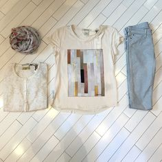 We love mixing patterns and textures at Mercantile and the combination of these printed Acquaverde jeans, butterfly print scarf and Maison Scotch silk tee and cotton sweater is fresh and fun.