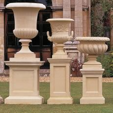 A pedestal can be used to raise a traditional planter urn flower pot or other garden ornament from the ground. It can also be used to display a bust statue sculpture or statuary. Stone Planters, Urn Planters, Square Planters, Landscape Elements, Garden Urns, Garden Stones, Garden Ornaments, Diy Garden Decor, Container Gardening