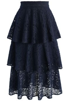 Marvelous Full Lace Tiered Skirt in Navy - New Arrivals - Retro, Indie and Unique Fashion