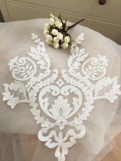 Graceful ivory wedding lace applique bridal lace applique for