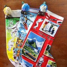 rummey bears: vintage tea towel stockings