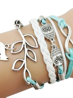 Vintage Style Animal Leaf Decorate Handmade Alloy Braided Bracelets