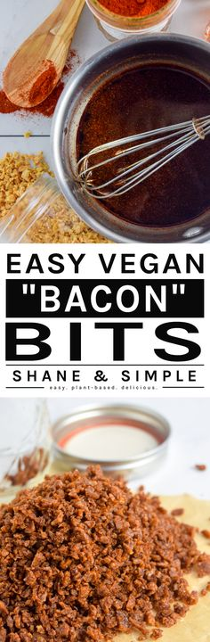 Savory, smoky, crispy and delicious easy vegan bacon bits made from TVP. Top salads, baked potatoes or simply eat by the handful. High Protein Vegan Recipes, Delicious Vegan Recipes, Vegan Snacks, Vegan Meals, Vegan Vegetarian, Vegetarian Recipes, Vegan Food, Seitan Recipes, Plant Based Snacks