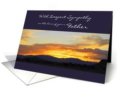 Deepest Sympathy Loss of Father card #Sunset #Mountains