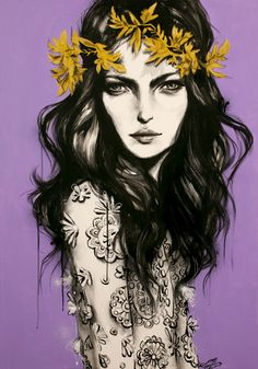'Chloe Crown', 700 x 1000 mm, Acrylic, charcoal, spray paint and paint pens on canvas, 2012, COPYRIGHT © of Pippa McManus