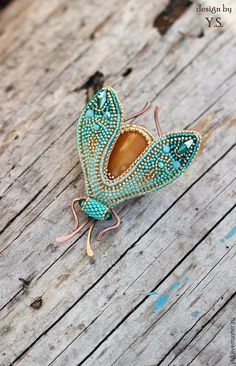 "Beaded brooch | Купить брошь ""Мотылёк"" - брошь мотылек, брошь с нефритом, брошь бабочка вышивка"
