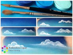 Step by Step Clouds by Jennifer Parker @ Kaleidoscope Face Painting, via Flickr I get so many people asking how I paint these clouds, yet they're so simple and effective, well worth a practice, I promise!