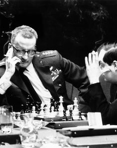 George C. Scott and Stanley Kubrick play chess on the set of Dr. Strangelove.