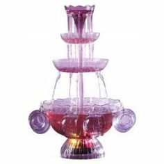 The Nostalgia Electrics Lighted Party Fountain offers light and illumination to your next party! This lighted fountain has four tiers and will add to your kitchen decor.  Celebrate in style with this Lighted Punch Fountain Beverage Set -- its an illuminated punch bowl party fountain! This dramatic fountain delivers cascades of champagne punch or other refreshing beverages up from the lighted bottom bowl to the top, and then flows back down in a waterfall effect from one tier to the next…