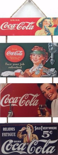 Old COCA COLA Special Set of 3 Wood COCA COLA Picture Hanging. FREE SHIPPING
