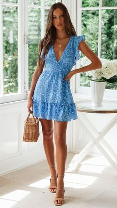 Floral Chiffon Boho Deep V Neck Backless Dress Short Vintage Flower Prints Evening Gowns Bridesmaid Summer Beach Mini Dress Woman Spaghetti Strap Cross Floral Chiffon Boho Deep V Neck Backless Dress Short Vintage Flower Pr – Center Of Treasures Blue Dress Casual, Casual Summer Dresses, Summer Dresses For Women, Summer Beach Dresses, Summer Fashions, Dress For Beach, Spring Dresses, Blue Dress Outfits, Casual Outfits