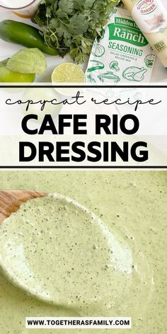 The best Cafe Rio Dressing is a copycat recipe from the popular Mexian food restaurant. A creamy dressing with tomatillos, ranch seasoning, cilantro, jalapeño, mayonnaise, and buttermilk. This tastes exactly like the real thing and you'll be drizzling it over everything!